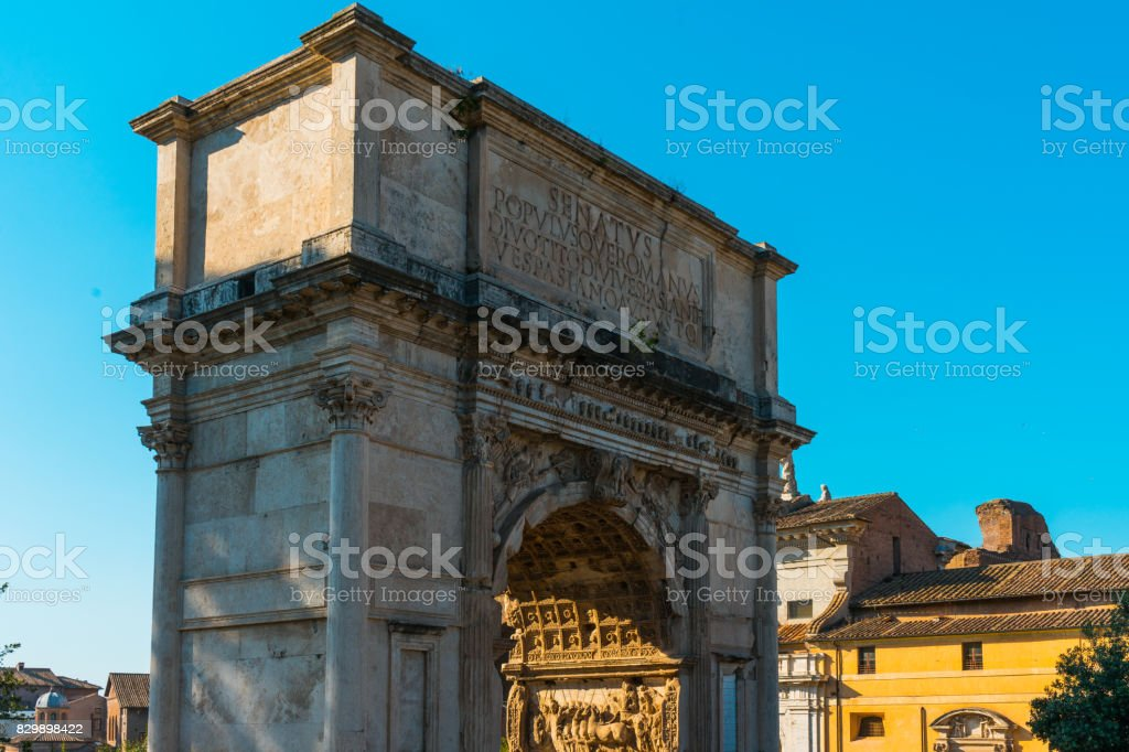 View of the Arch of Titus, Rome Italy stock photo