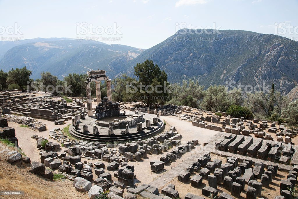 View of the archaeological site of Delphi in Greece (Europe) stock photo