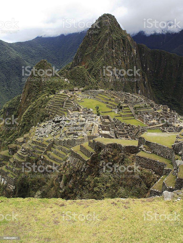 View of the archeological site Machu Picchu, Cuzco, Peru, seven stock photo