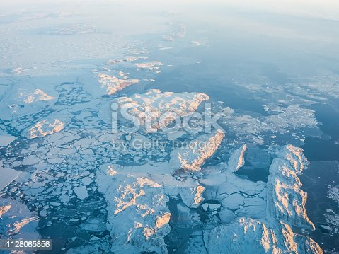 View of the Arctic ice from the plane, the expanses of the Arctic. View of the Arctic ice from the plane, the expanses of the Arctic.