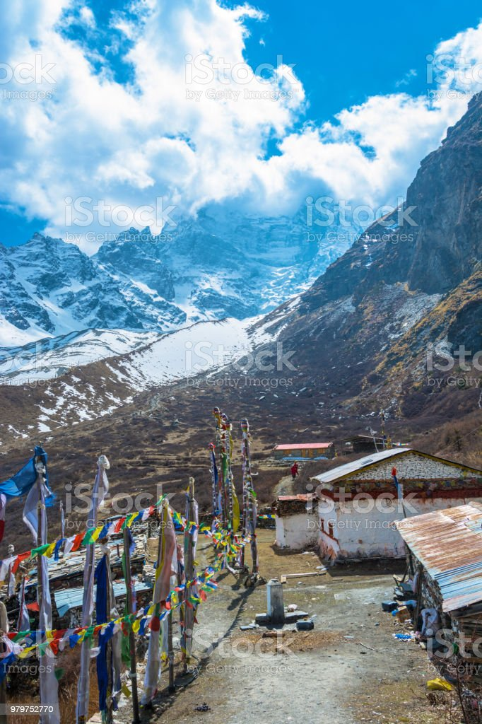 View of the area near the cave of Milarepa, Nepal. стоковое фото