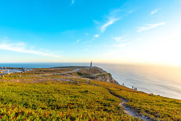 View of the Atlantic coast in Cabo da Roca (Cape Roca) in Western Portugal nature headland stock pictures, royalty-free photos & images
