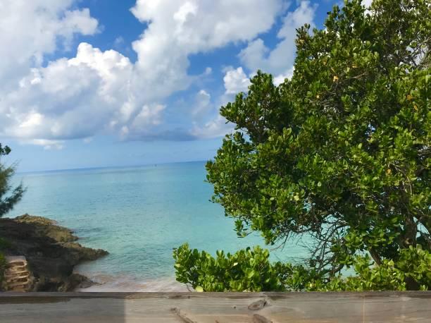 View of the Atlantic Ocean from Saint George's Island Bermuda stock photo