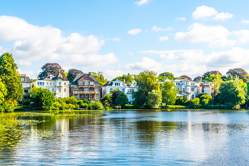 View of the aussenalster lake in Hamburg, Germany