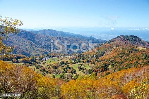 The autumn leaves of the plateau farm are very beautiful.