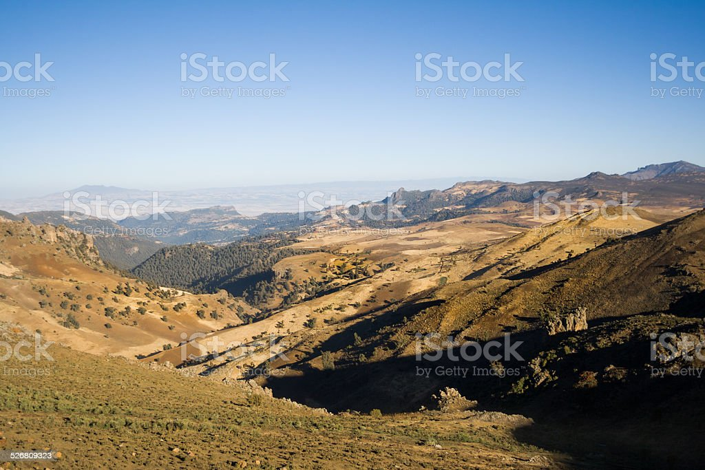 View of the Bale Mountains National Park, Ethiopia stock photo