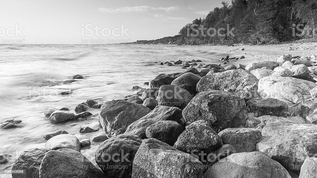 view of the Baltic Sea to the Polish town Rozewie royalty-free stock photo