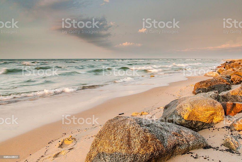 Ansicht der Ostsee der polnischen Stadt Rozewie Lizenzfreies stock-foto