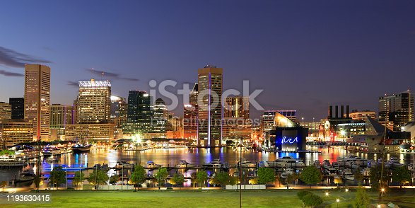 View of the Baltimore Inner Harbor and skyline during dusk from Federal Hill, USA