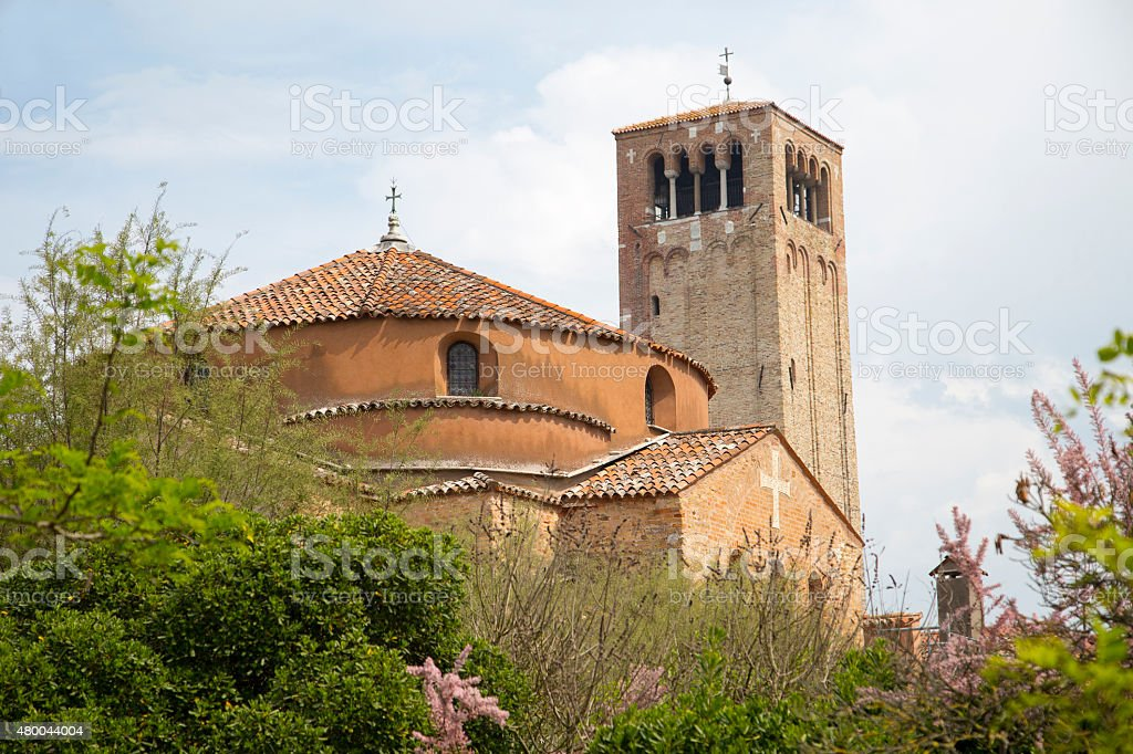 View of the Basilica and Santa Fosca cathedral in Torcello stock photo