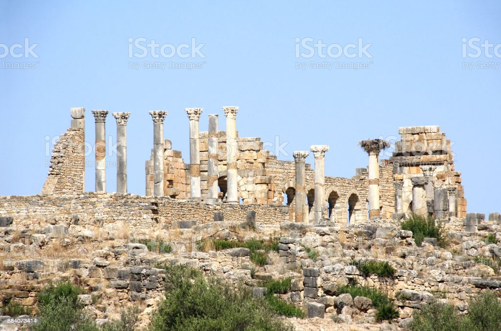 View of the Basilica in Volubilis, Morocco stock photo