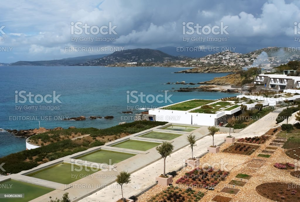 View of the bay and a gray stormy sky from luxury class hotel in spring. stock photo