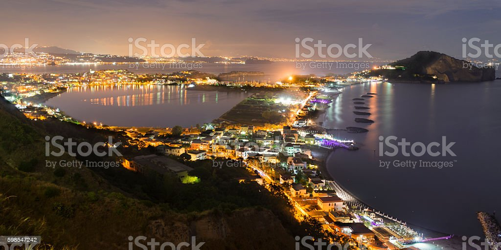 view of the bay and Capo Miseno Bacoli stock photo