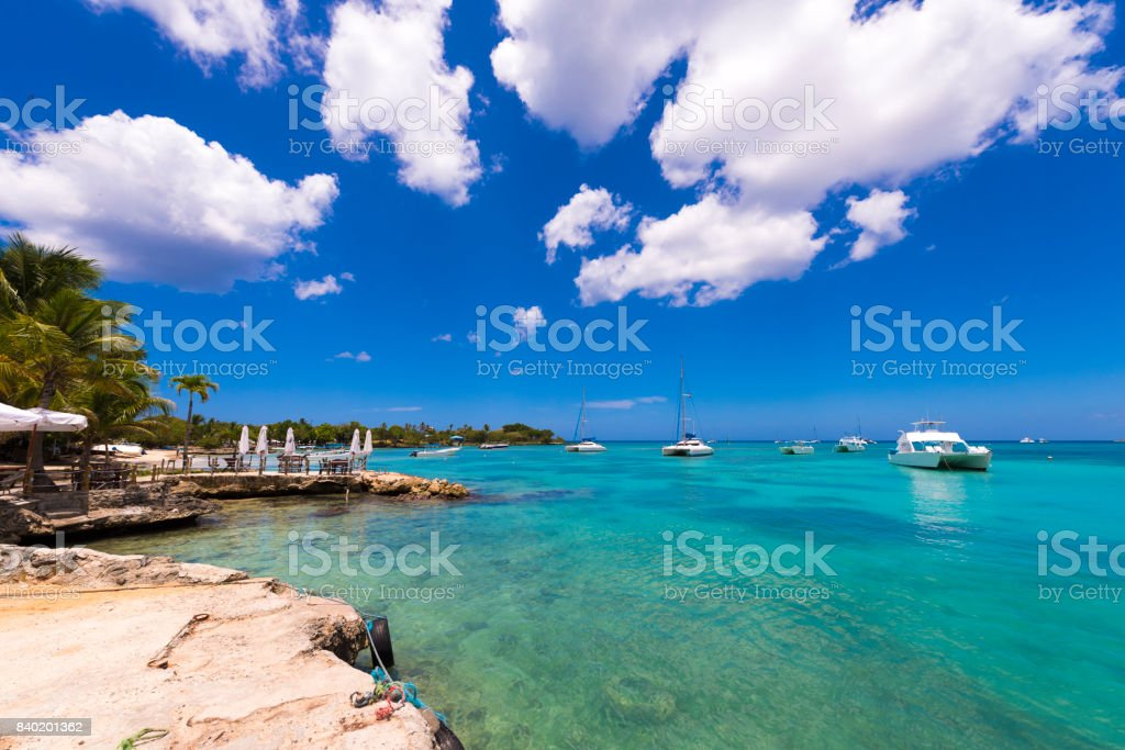 View of the bay in Bayahibe stock photo