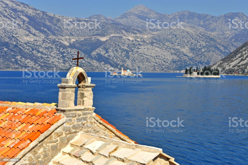 View of the bay of Kotor Risan in Montenegro foto stock royalty-free