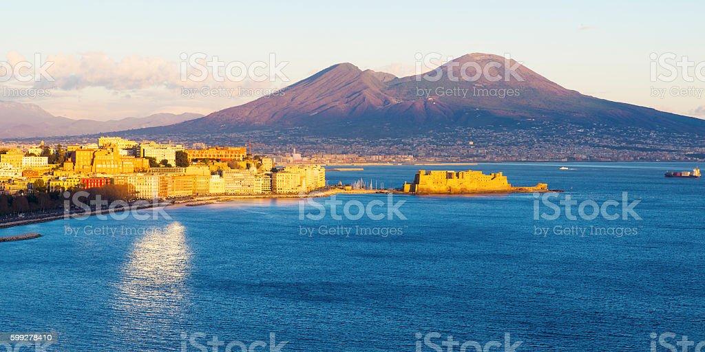 view of the Bay of Naples with Vesuvius stock photo