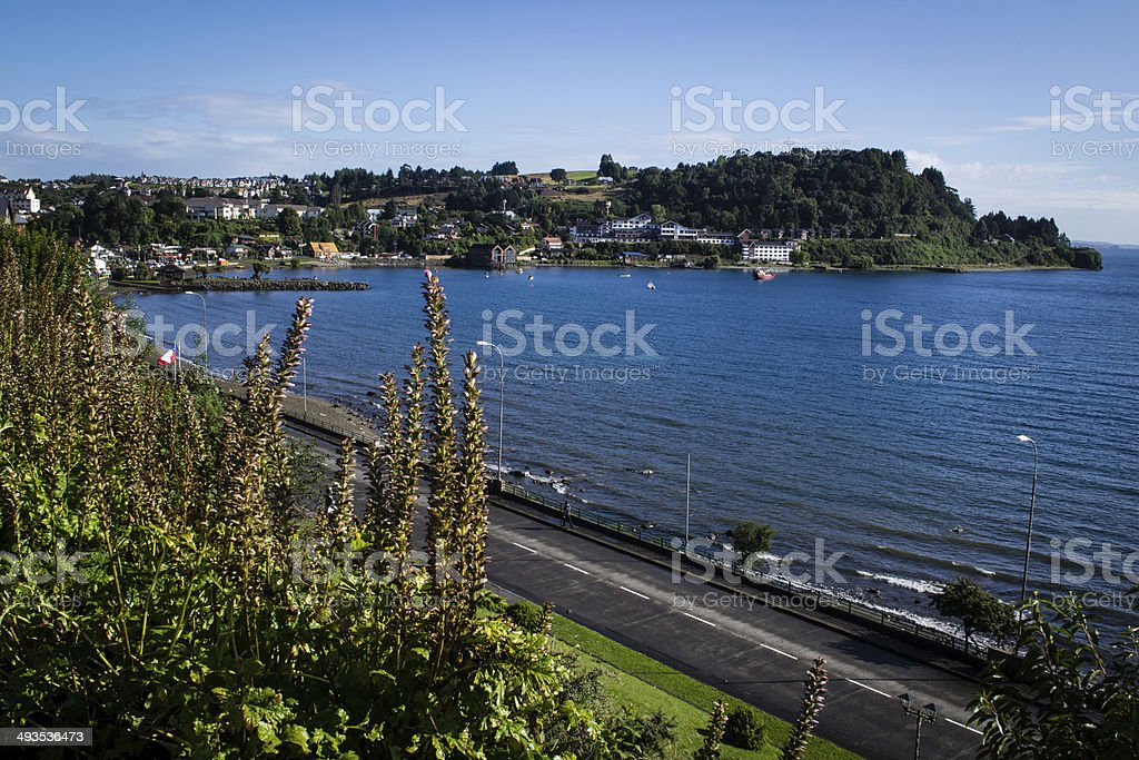View of the bay of Puerto Varas, Chile stock photo