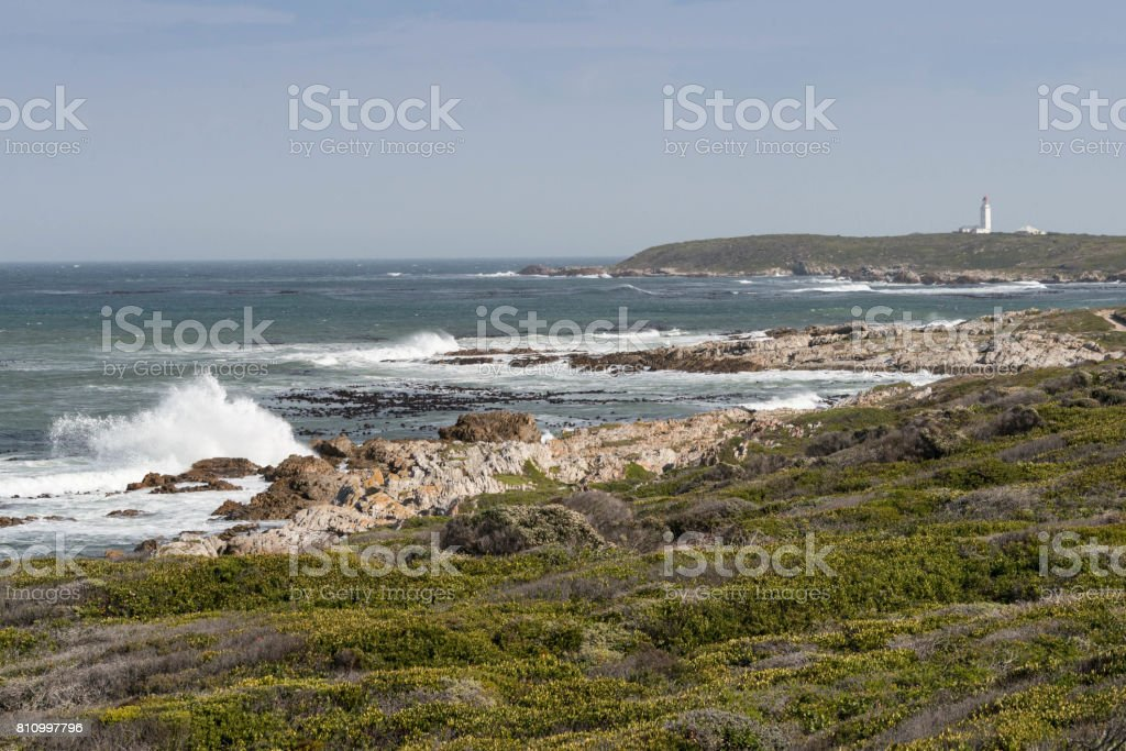 View of the bay towards Danger Point lighthouse, Gansbaai, South Africa stock photo