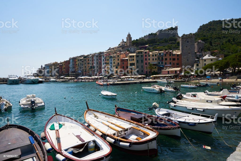View of the beach and boats in Portovenere stock photo