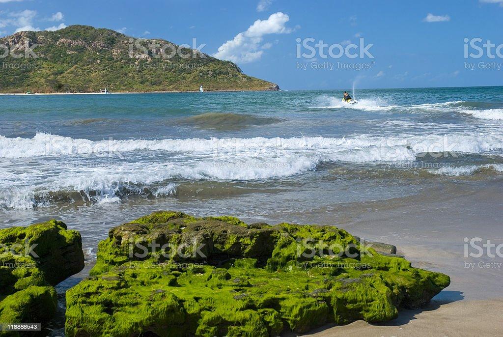 View of the beach and ocean at Mazatlan Mexico. stock photo