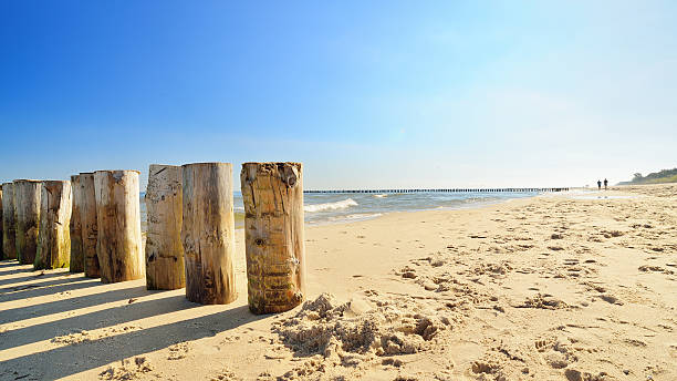 View of the beach by the Baltic Sea stock photo