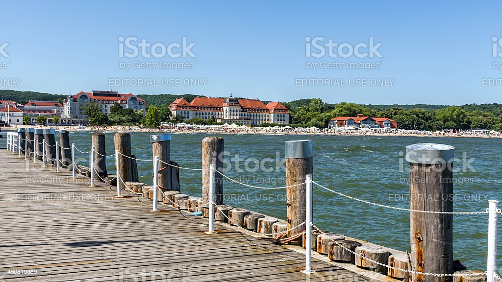 View of the beach in Sopot stock photo