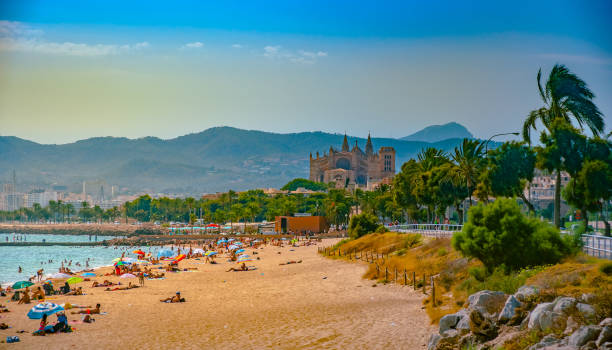 View of the beach of Palma de Mallorca stock photo