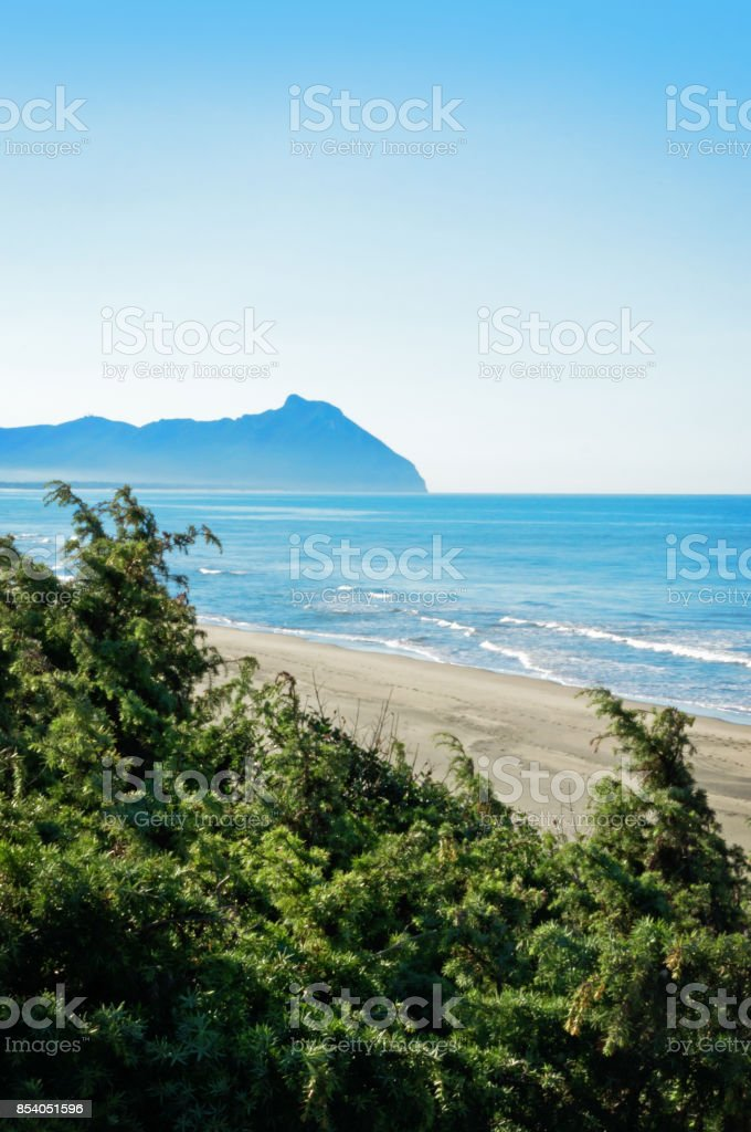 View of the beach of Sabaudia - Italy stock photo