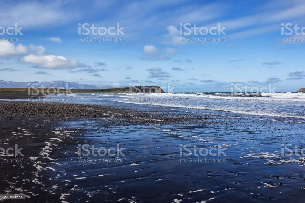 View of the beach of the peninsula Tjornes, Iceland stock photo
