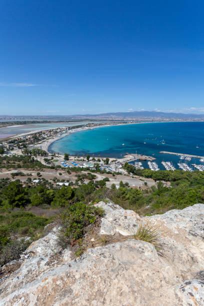 View of the beach Poetto in Cagliari, Sardinia stock photo