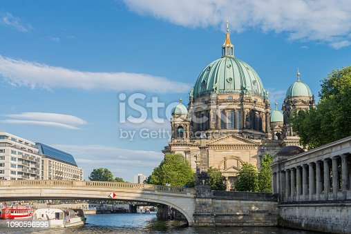 Low angle view of the Berlin Cathedral and Spree river at Berlin city, Germany.