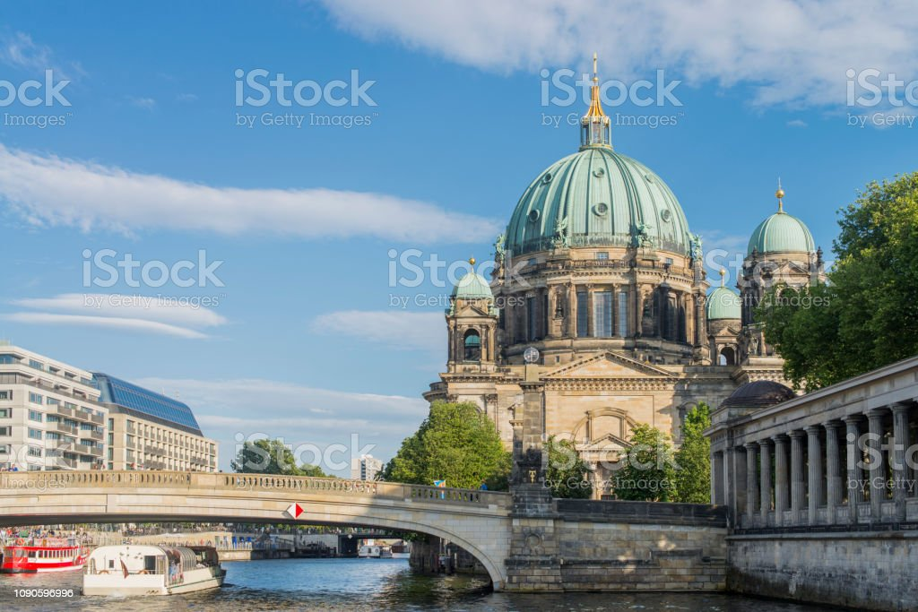 View of the Berlin Cathedral and Spree river at Berlin city, Germany. stock photo