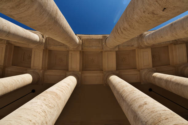 view of the bernini's colonnade from the bottom to the top - low angle view foto e immagini stock