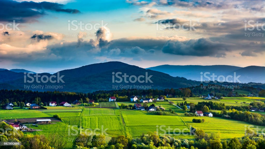 View of the Beskid Island at sunset. royalty-free stock photo