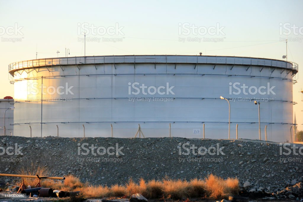 View Of The Big Oil Storage Tank With Floating Roof Storage