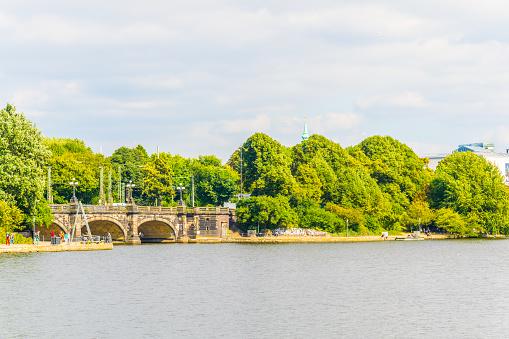 View of the binnenalster lake in Hamburg, Germany