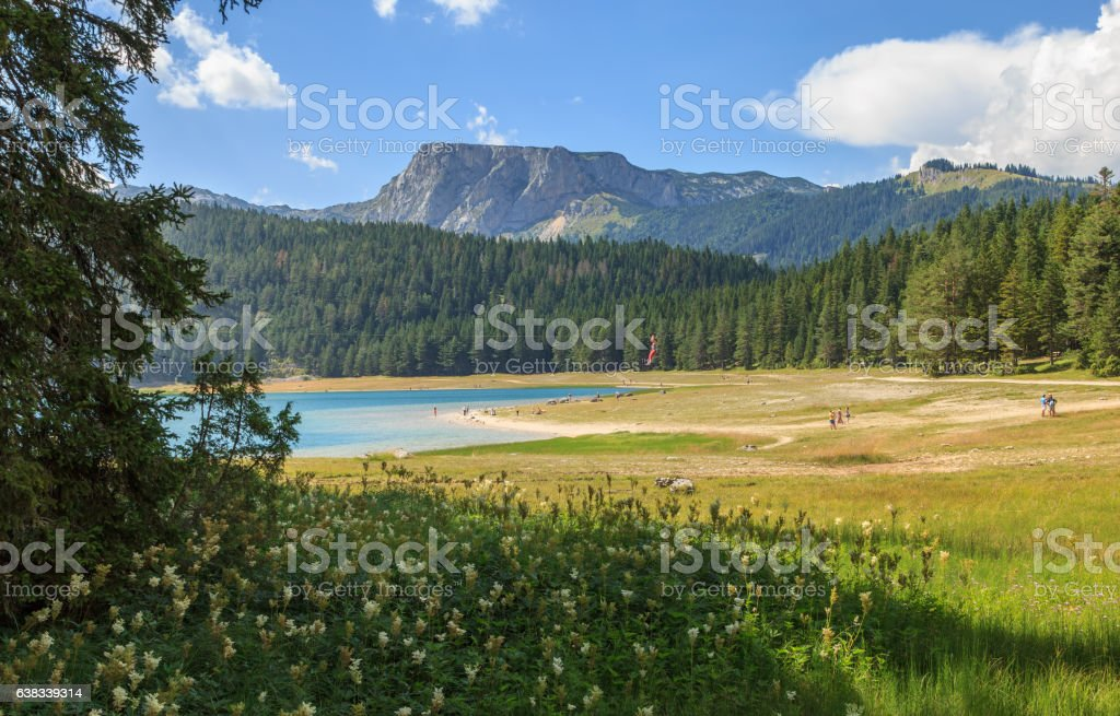 View of The Black Lake in Durmitor National Park, Montenegro stock photo