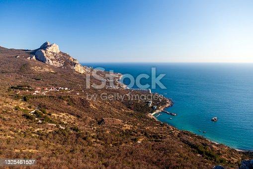 istock View of the Black Sea coast, Cape Fiolent in Sevastopol. Panoramic seascape, calm azure sea, clouds and bright sky. 1325461537