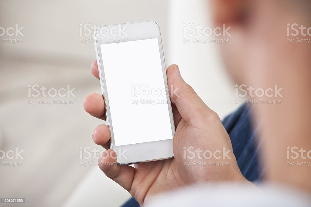 view of the blank screen on a smartphone stock photo