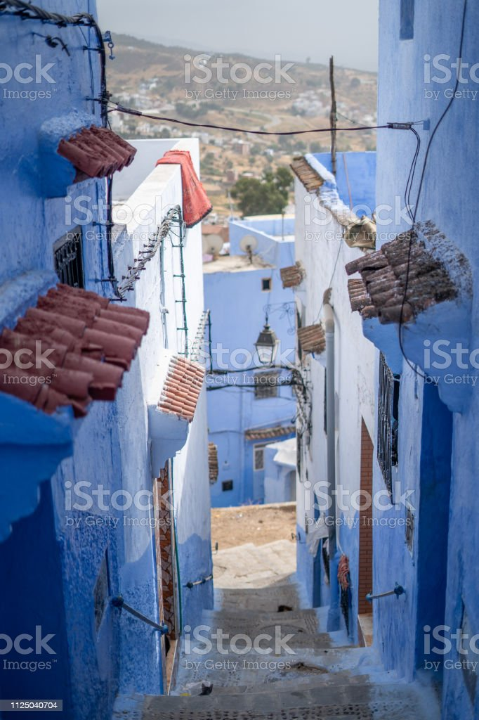 A view of the blue city Chefchaouen in Morocco stock photo