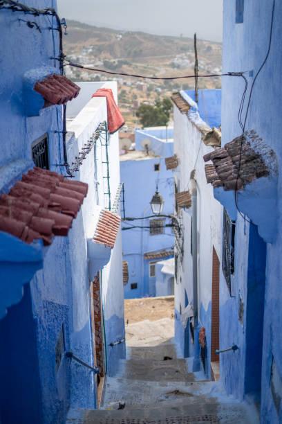 モロッコのシャウエン ブルーの街の景色 ストックフォト