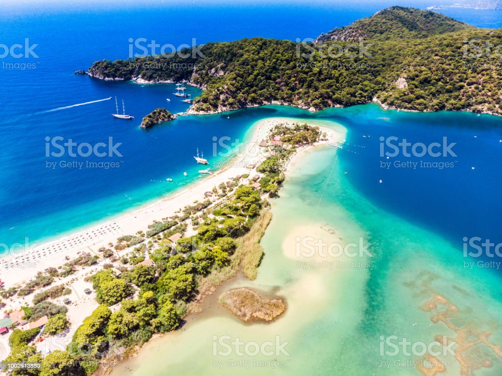 View of the Blue Lagoon, Oludeniz, Mugla, Turkey stock photo