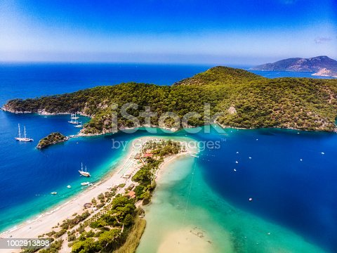 View of the Blue Lagoon, Oludeniz, Mugla, Turkey