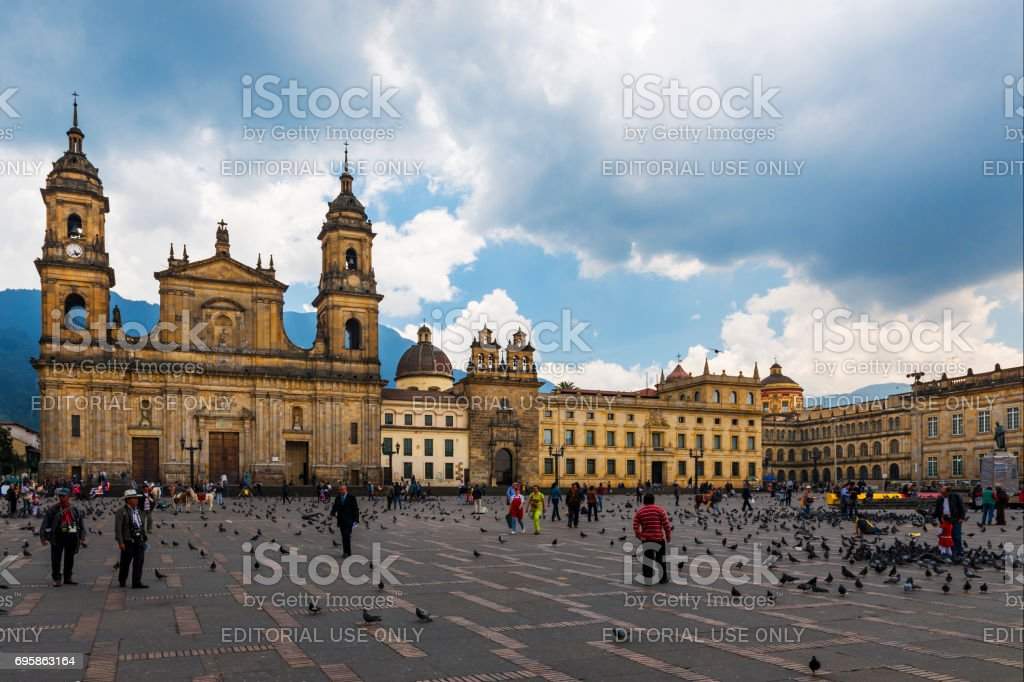 View of the Bolivar Square with the Archbishopric Cathedral of Bogotá in the background in the city of Bogotá, Colombia stock photo