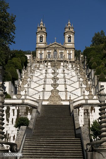 Braga, Portugal - May 14, 2019: View of the Bom Jesus do Monte Sanctuary, Baroque Stairs, Braga, Minho, Portugal