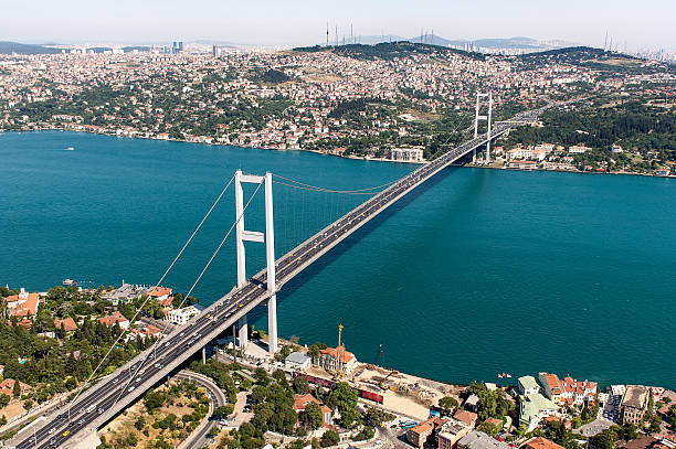 View of the Bosphorus Bridge and the strait below Helicopter view of the Bosphorus Bridge. bosphorus stock pictures, royalty-free photos & images