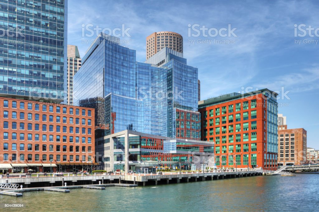 View of the Boston harbor skyline on a fine day stock photo