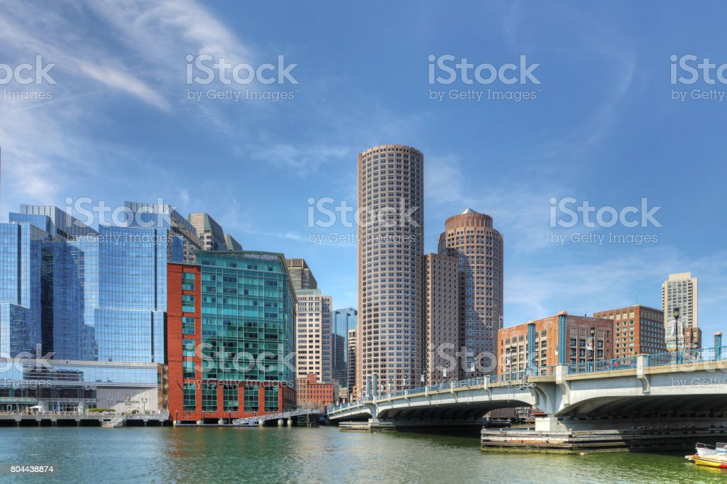 View of the Boston harbor skyline on a sunny day stock photo