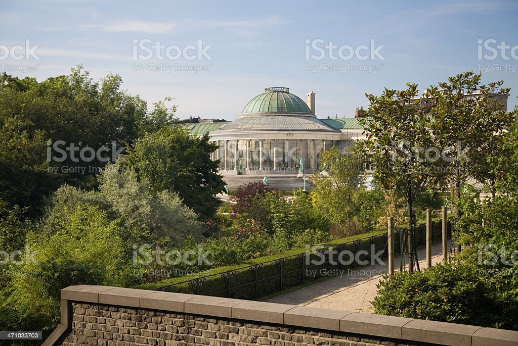 """View of the botanical garden in Brussels Overview of the """"Botanique"""" or """"Kruidentuin"""": the botanical garden in Brussels. It dates from 1796, right after the French Revolution. Now used as a gallery and event location. Architectural Dome Stock Photo"""