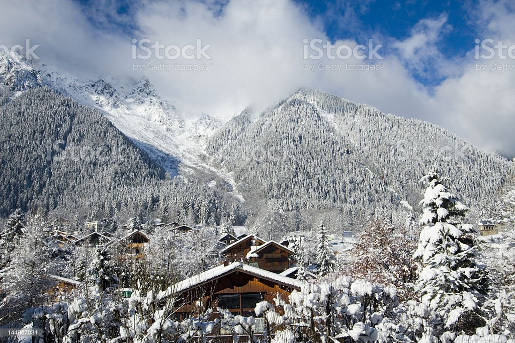 View of the Brevent Ski Area Chamonix stock photo